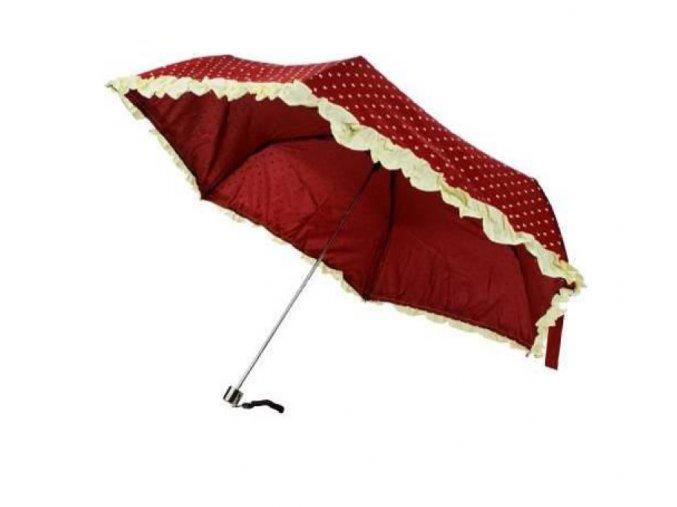 Deštník skládací s volánkem červený