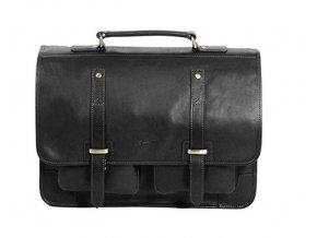 Pánská jednokomorová kožená taška na PC Gerard Henon 5325 černá