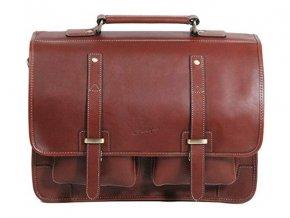 Dvoukomorová kožená taška na PC Gerard Henon 5326 marron