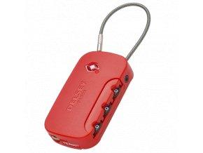 Kombinační zámek s adresním štítkem a TSA úpravou Delsey červený