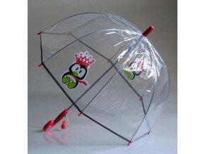 Dětský průhledný deštník se vzorem tučňák, luminiscenční lem