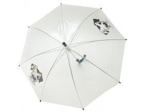 Dětský průhledný deštník se vzorem pejsek, luminiscenční lem