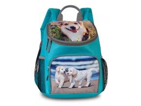 Dětský batůžek na výlety zelená + psi