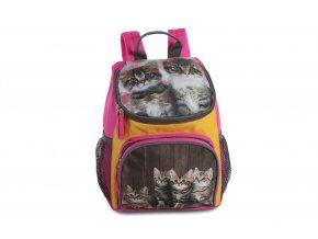 Dětský batůžek na výlety fuchsia + koťátka