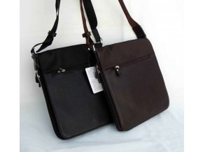 Praktická taška crossbody textil + kůže, hnědá