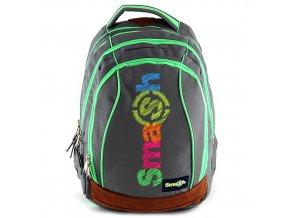 Školní batoh Smash 2v1 šedý/zelené zipy