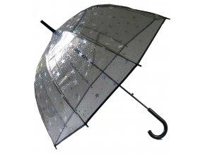 """Černý transparentní deštník """"hvězdy"""""""