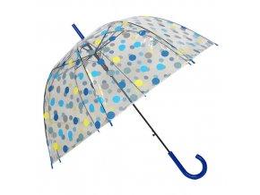 Deštník průhledný holový s modrými puntíky