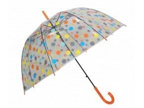 Deštník průhledný holový s oranžovými puntíky