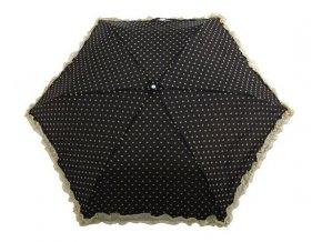 Deštník skládací s volánkem černý