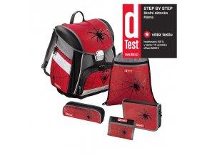Školní aktovka - 5-dílný set, Step by Step Červený pavouk, certifikát AGR