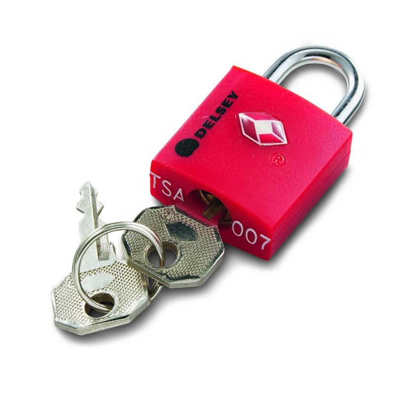 Visací zámeček kovový s TSA úpravou červený