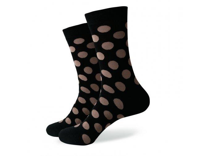Čierne ponožky - veľké béžové bodky