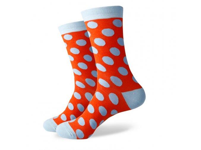 Oranžové ponožky - veľké belasé bodky