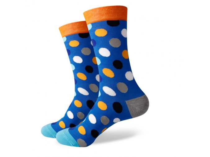 Modré ponožky - veľké farebné bodky