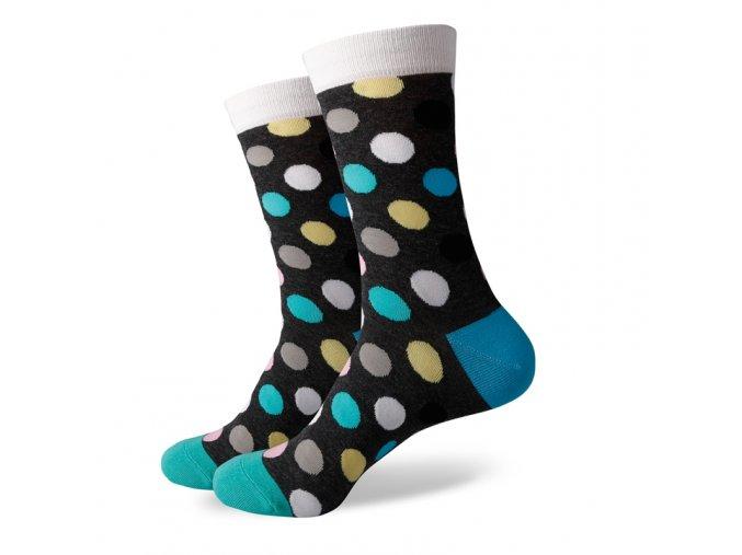 Šedé ponožky - veľké farebné bodky
