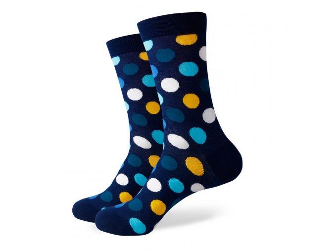 Tmavo-modré ponožky - veľké farebné bodky