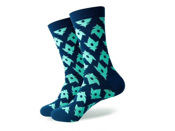 Modré ponožky - zelené znaky