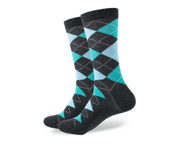 Šedo-zelené ponožky - kárované