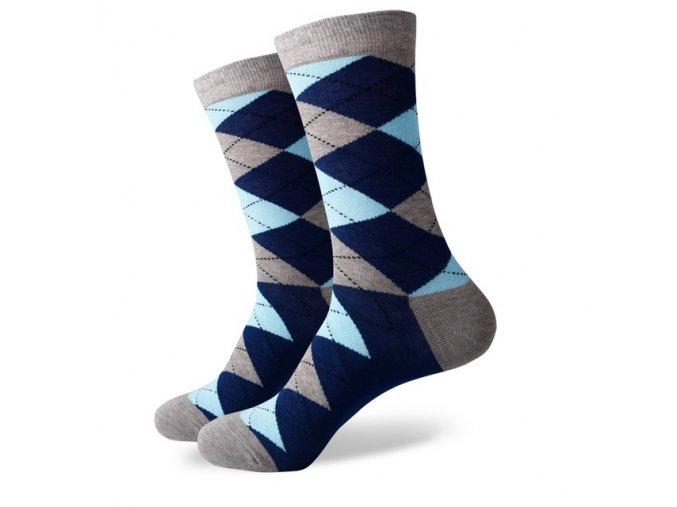 Šedo-modré ponožky - kárované