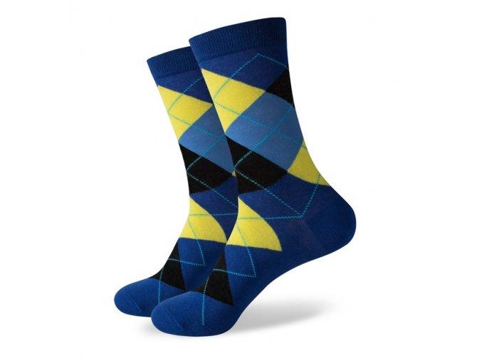 Modro-žlté ponožky - kárované