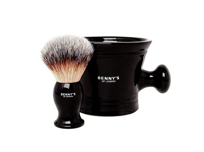 Benny's of London štetka na holenie s miskou na mydlo