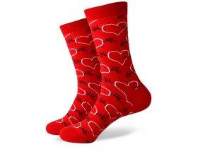 Červené ponožky - srdce