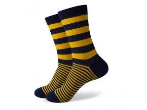 Modro-žlté ponožky - pruhované
