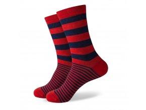 Červeno-modré ponožky - pruhované