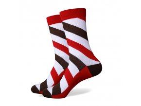 Červeno-biele ponožky - pruhované