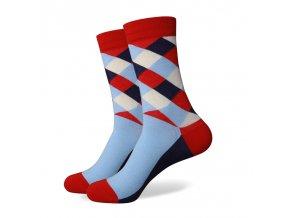 Modro-červené ponožky - kárované