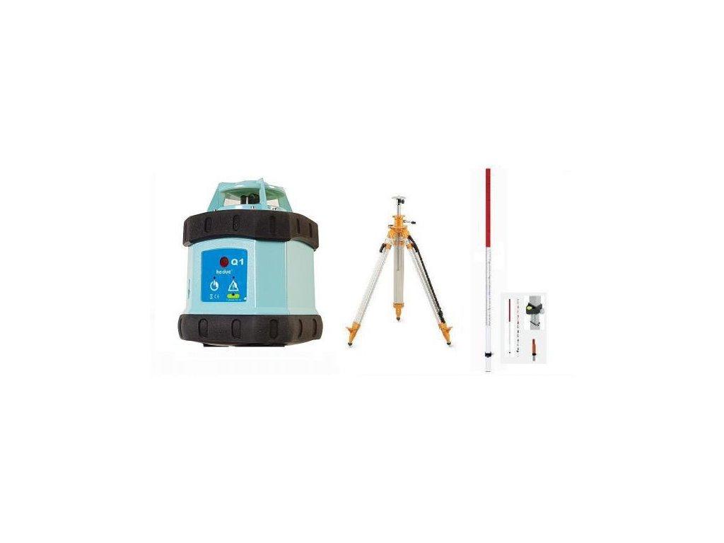 Rotačný laser HEDUE Q1 ECO + statív s kľukou a flexi lata
