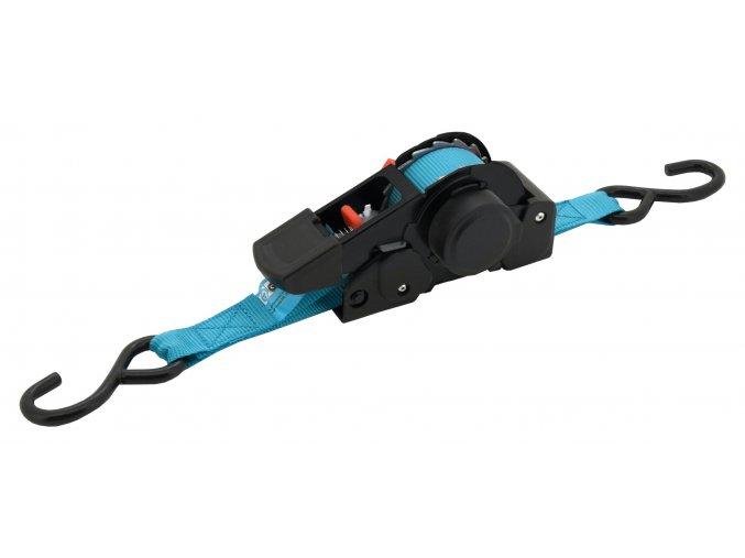 Popruh s ráčnou a háky samonavíjecí 320daN 3,5m TÜV BLUE WAY