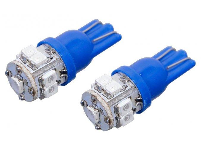 Žárovka 9 SUPER LED 12V  T10  modrá 2ks