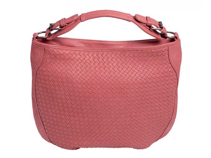 Dámská kabelka, proplétaná, korálová barva