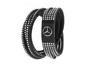 Dámský černý Mercedes-Benz náramek s Swarovski® krystaly