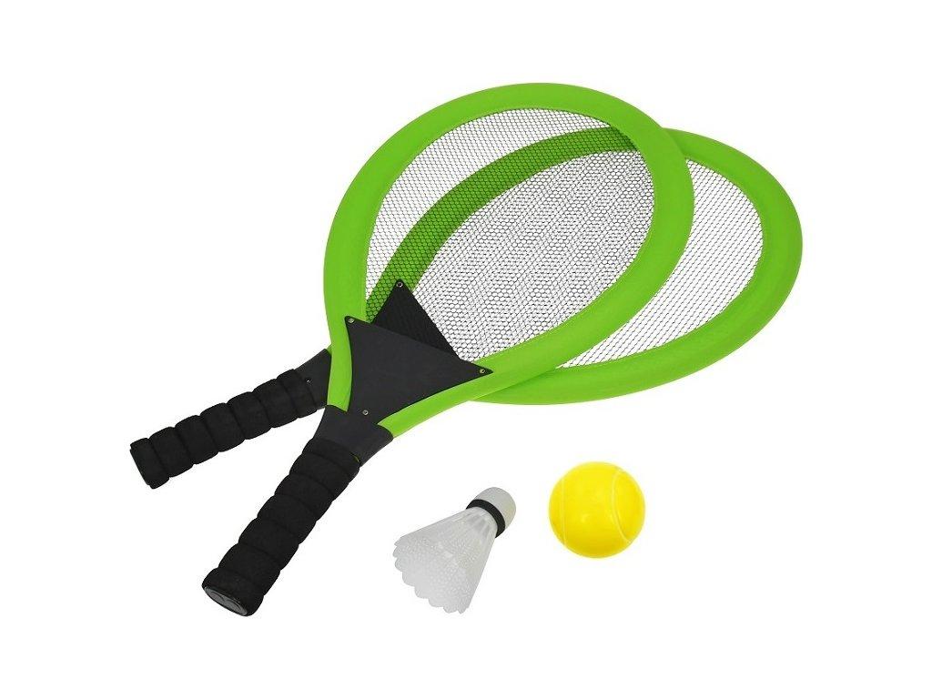 Set na plážové hry tenis/badminton 2xraketa, soft miček, badm. Košík, zelená