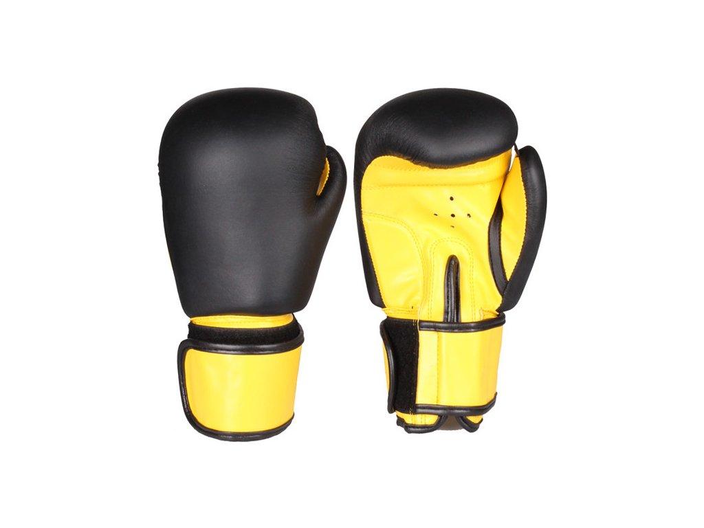 Fighter zápasové boxovací rukavice černá-žlutá hmotnost 8 oz