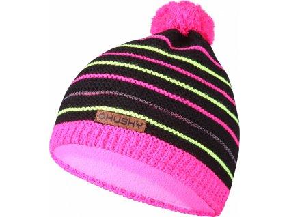 Dětská čepice Cap 34 černá/neon růžová