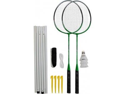 Badmintonový set 2x raketa, 3x míček, síť, vak
