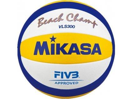 Míč BEACH volejbal MIKASA VLS300 -při větším množstsví cena dohodou bílá/modrá/žlutá 4324  + DÁREK SADA 5X MULTIFUNKČNÍ ŠÁTEK
