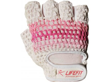 Fitnes rukavice LIFEFIT KNIT, růžovo-bílé