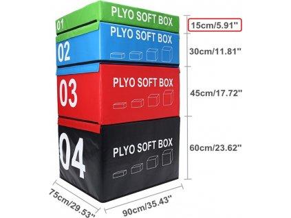 CrossFit PLYOSOFT box SEDCO 90x75x15-60 cm Výška: 15 cm - zelená BSKR037-ZE