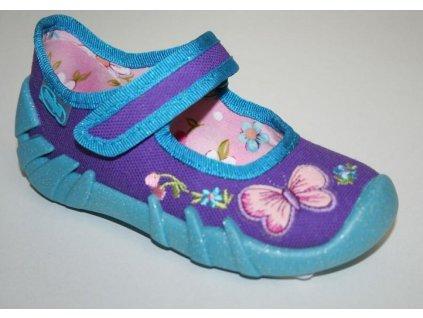 109P001 18 - balerínky Befado, fialová, motýlek