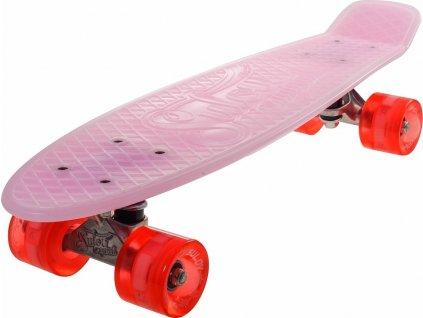 """Penny board 22"""" BURN RIDER růžový fosforeskující, blikající kolečka"""