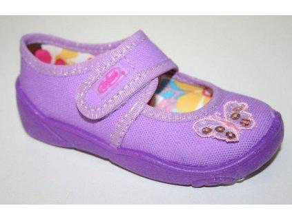 004P006 20 - balerínky Befado, fialová, motýlek