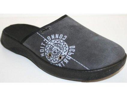 056M040 40 - pantofle ALEX ZŠ Befado,šedá, nápisy