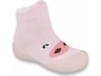002P005 18 - botičky pro miminka růžové, prasátko