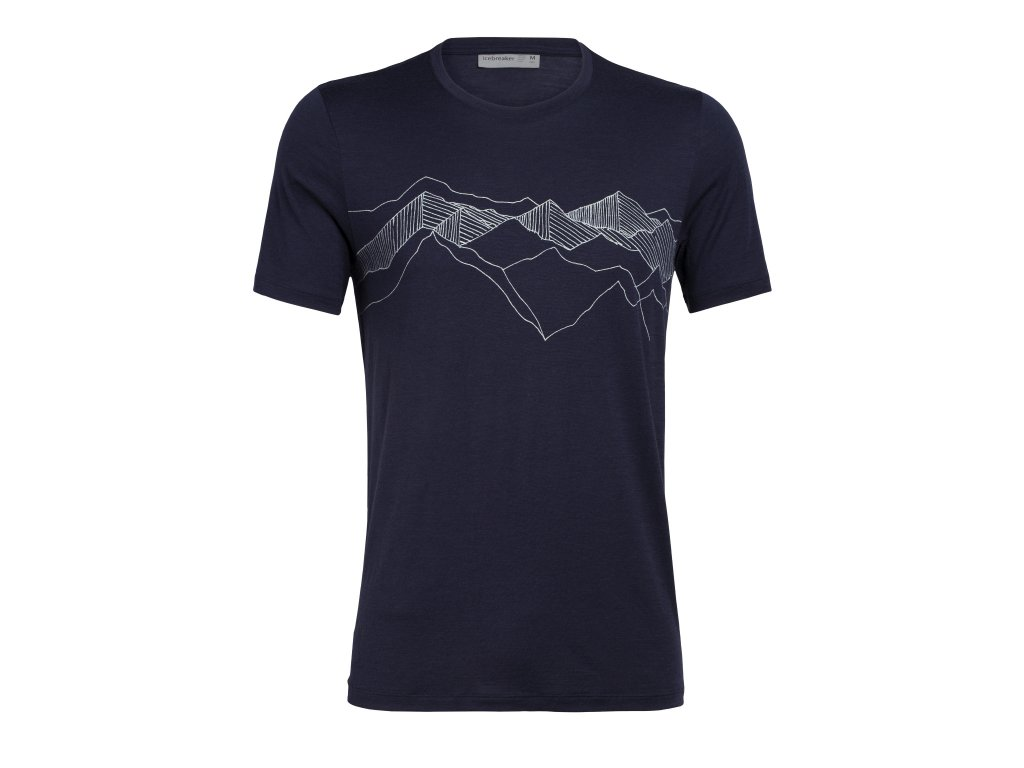 ICEBREAKER Mens Tech Lite SS Crewe Peak Patterns, Midnight Navy (velikost XXL)