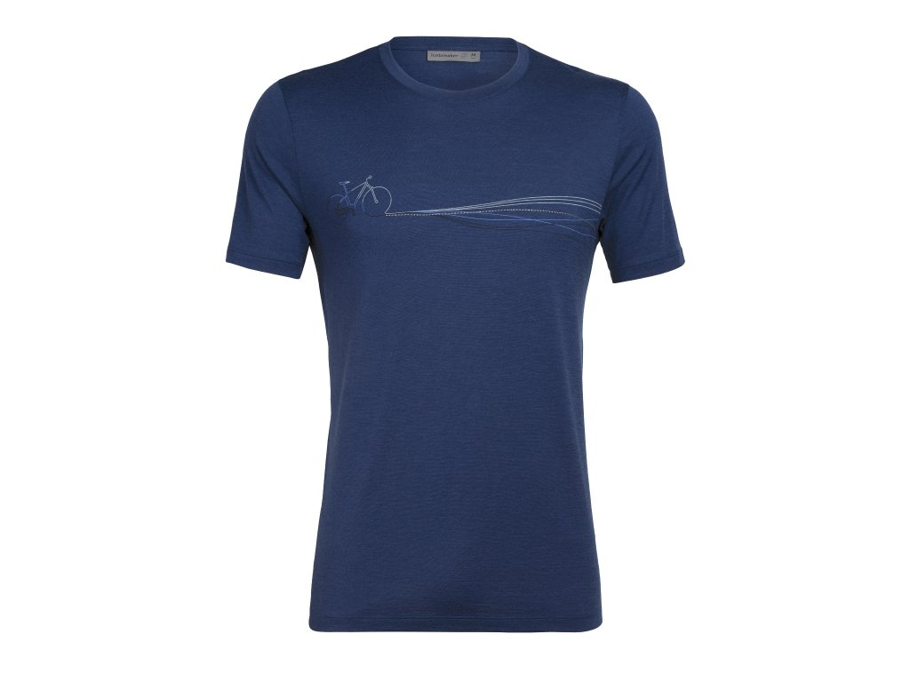 ICEBREAKER Mens Tech Lite SS Crewe Cadence Paths, ESTATE BLUE (velikost XXL)
